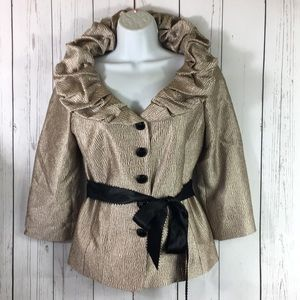 Victor Costa Gold Lamé Belted Jacket Formal